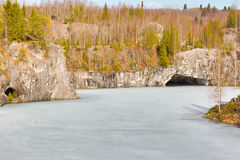 Marble quarry in mountain Park. Mountain Park Ruskeala in Karelia Stock Images
