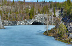 Marble quarry in mountain Park. Mountain Park Ruskeala in Karelia Royalty Free Stock Photos