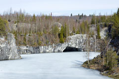 Marble quarry in mountain Park. The marble quarry of Ruskeala in Karelia Stock Photo