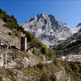 Marble quarry mountain view - Carrara, Italy Royalty Free Stock Photo