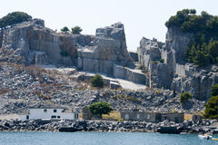 Marble Quarry - Palmaria island Italy. Stock Photo