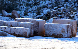 Marble quarry without people with the huge red marble blocks ext Royalty Free Stock Photos