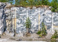 Marble quarry and rocks in the Republic of Karelia. royalty free stock photo