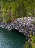 Marble quarry in Ruskeala Park in Republic of Karelia, Russia. Ruskeala - tourist center, located on the ground filled with groundwater former marble quarry Stock Photo