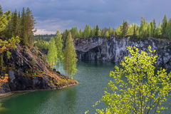 Marble quarry in Ruskeala Park in Republic of Karelia, Russia. Ruskeala - tourist center, located on the ground filled with groundwater former marble quarry Stock Image