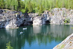 Marble quarry in Ruskeala Stock Images