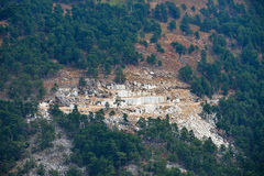Marble quarry in Thassos Island, Greece stock images