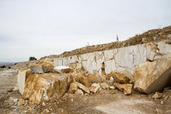 Marble quarry, white marble Stock Photos