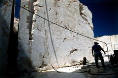 Marble quarry worker. In Sicily Italy royalty free stock images