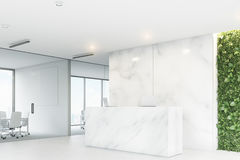 Marble reception, grass office, corner Royalty Free Stock Images