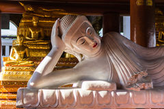 Marble Reclining buddha within the Wat Banden in Chiangmai Stock Photo