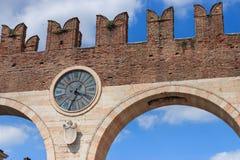 Clock at Portoni della Bra in Verona, Italy stock photos