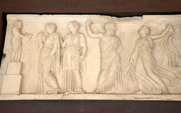 Marble relief in Roman Herculaneum, Italy Royalty Free Stock Photos