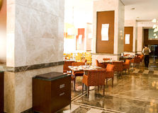 Marble restaurant floor. Black and beige marbles floor of restaurant Royalty Free Stock Photo