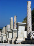 Marble road with pillars in Ephesus,Turkey Royalty Free Stock Photos