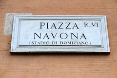 Marble road sign with an indication of the Piazza Navona in Rome Royalty Free Stock Images