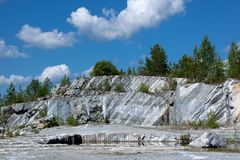 Marble rock. Natural marble deposits, used in industry and art royalty free stock photos