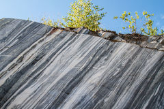 Marble rocks. Marble quarry, marble rocks in the wild in the Republic of Karelia. The natural stone. Ancient faults marble Imperial times. Slices of marble Stock Photography