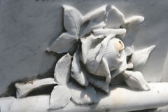Marble rose. On a tombstone Royalty Free Stock Images