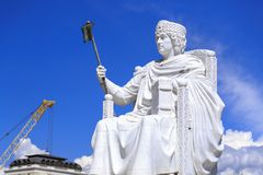 Marble sculpture of Byzantine Emperor Justinian in Skopje, Maced Royalty Free Stock Images