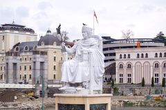 Marble sculpture of Byzantine Emperor Justinian in Skopje, Maced Royalty Free Stock Photos