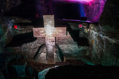 Marble sculpture cross at underground Salt Royalty Free Stock Image