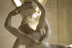 Marble sculpture Cupid and Psyche. By Antonio Canova, shows moment of awakening Psyche from the kiss of the god Cupid .1787 Louvre Paris royalty free stock image