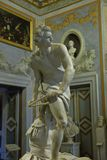 Marble sculpture David by Gian Lorenzo Bernini in Galleria Borghese royalty free stock photos