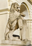 Marble sculpture - a lion in Lviv, Ukraine Stock Photos