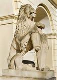 Marble sculpture - a lion in Lviv, Ukraine Stock Photos