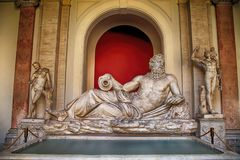 Sculpture of river God Tiber in Vatican, Italy. Marble sculpture of river God Tiber in Vatican, Italy royalty free stock images