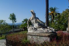 Marble sculpture sights Corfu, Greece. View from the back Royalty Free Stock Photos