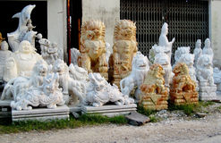 Marble sculptures on the fabric stock photo