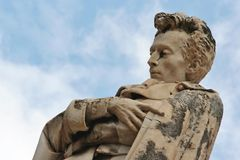 Marble scuplture of poet Giacomo Leopardi in Recanati. Portrait made by marble scuplture of poet Giacomo Leopardi in Recanati old downtown, Marche, central Italy Royalty Free Stock Photos
