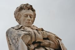 Marble scuplture of poet Giacomo Leopardi in Recanati. Portrait made by marble scuplture of poet Giacomo Leopardi in Recanati old downtown, Marche, central Italy Stock Image