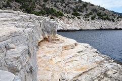 Marble seacoast on island Thasos. Thasos or Thassos is a Greek island in the northern Aegean Sea Royalty Free Stock Photo