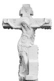 Marble sepulchral cross. The sepulchral cross representing a crucifixion of Jesus Christ. Isolated on the white Stock Photography