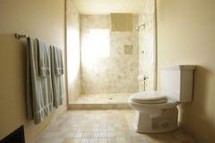 Marble shower in bathroom stock photos