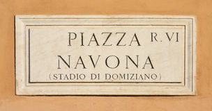 Marble sign in Rome, Italy. Arble sign at Piazza Navona in Rome, Italy (the square is always crowded with tourists in the heart of Rome Royalty Free Stock Photography