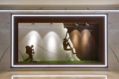 Marble slab shop window. Lit by led spot light stock images