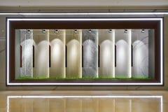 Marble slab shop window. Lit by led spot light stock photo