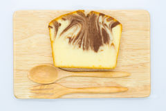 Marble soft butter cake on wooden board Stock Photo