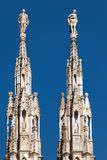 Marble spires of the Milan Cathedral Royalty Free Stock Image