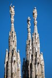 Marble spires of the Milan Cathedral Royalty Free Stock Photography