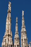Marble spires of the Milan Cathedral Stock Photos