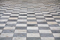 Marble square floor. Marble black and white square floor pattern perspective view Stock Photography