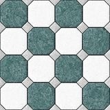 Marble square floor tiles with gray rhombs seamless pattern texture background - blue, green and white color Stock Image