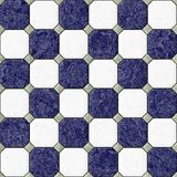 Marble square floor tiles with gray rhombs seamless pattern texture background - navy blue and white color Stock Image