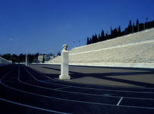 Marble Stadium in Athens. Marble Stadium with antique bust in Athens, Greece royalty free stock photos