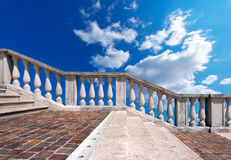 Marble Staircase on Blue Sky with Clouds Stock Photo